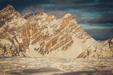 Tilt Shift Effect Of Snowy Slopes Of Torre Sabbioni Peaks At Sunset. San Vito Di Cadore, Dolomites, Italy
