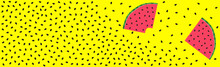 Pieces Of Watermelon With A Scattering Of Seeds On A Bright Yellow Background - Vector