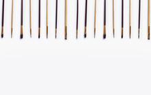 Set Of Paint Brushes On White Background.