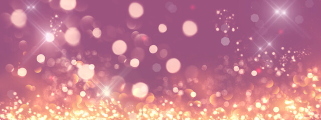Golden glittering stars. Holiday glowing backdrop. Defocused Background With Blinking Stars. Abstract Colorful bright glowing design. Party lights