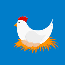 Illustration Of A Hen With Eggs. Cute Cartoon Character, Bird Chicken Collection. Vector Illustration In Flat Style