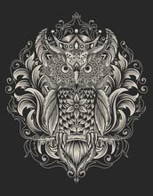 Illustration Owl Bird With Mandala Ornament Style