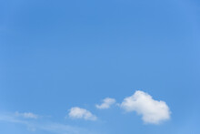 Peaceful Blue Sky With A Few Small Fluffy White Clouds, As A Nature Background