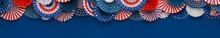 Vibrant Red White And Blue Paper Fans Banner With Space For Text. For 4th Of July, Memorial Day, Veteran's Day, Or Other Patriotic Holiday Celebrations.