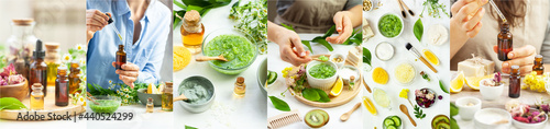 Girl preparing homemade refreshing cucumber mask. Self care, home face and body treatment, healthy lifestyle, zero waste. Natural organic ingredients and essential oil in cosmetics. Collage banner