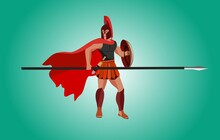 Spartan Warrior Holding Spear And Shield, Ready For Battle, Vector