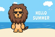 Cute Lion Wearing Glasses With Good Pose With A Summer Greeting Banner Cartoon Vector Icon Illustration
