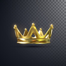 Golden Crown Isolated On Transparent Background