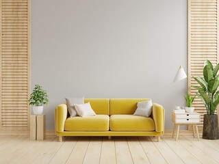 Gray wall living room have yellow sofa and decoration.
