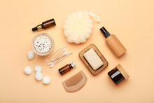 Composition With Cotton Swabs, Balls And Cosmetic Products On Color Background