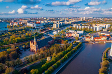 Aerial View Kaliningrad Russia, Fishing Village And Cathedral On Island Of Kant, Summer Blue Sky