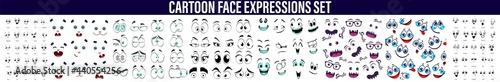 Fotografiet different pieces of emotions,Cartoon faces