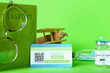 Leinwandbild Motiv Immune passport, card, wooden airplane and covid-19 vaccine on color background