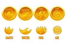4 Elements Nature, Golden Art Icons Water, Earth, Fire, Air For The Game.