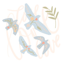 Folk Bird Hand Drawn. Minimalist Blue Dove With Flowers. Vector Illustrations. Birds In The Sky. With Lettering Love. Peace And Freedom