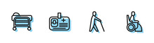 Set Line Blind Human Holding Stick, Stretcher, Identification Badge And Woman Wheelchair Icon. Vector
