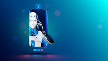 Artificial Intelligence In Phone. Mobile Online Chat Bot In Smartphone. Cyborg Or Robot With AI Look Out Of Screen Phone. Chatbot, Internet Helper, Virtual Support Of Web Services. Technology Concept.