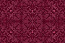 Vector Art With Purple Floral Tile Pattern