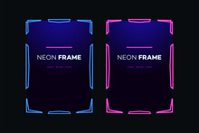 Neon Frame Template Modern Theme. Streaming Screen Panel Overlay Game. Live Video, Online Stream Futuristic Technology. Abstract Digital User Interface. Live Streaming Button. Vector 10 Eps