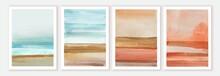 Abstract Wall Art Watercolor Compositions. Soft Watercolor Gradient. Landscape, Seashore, Sea, Blue Sky.