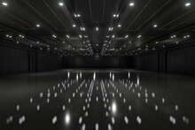 Empty Convention Hall Center .The Backdrop For Exhibition Stands,booth Elements. Meeting Room For The Conference.Big Arena For Entertainment,concert,event. Ballroom.3d Render.