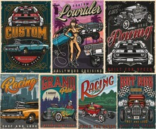 Retro Custom Cars Colorful Posters Set