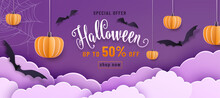 Happy Halloween Vector Banner Illustration Or Party Invitation Background With Sale Offer Text Sign, Night Clouds, Pumpkins, Spider Web And Bats In 3d Paper Cut Style