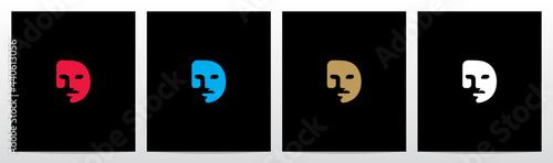 Foto Human Face On Letter Logo Design D