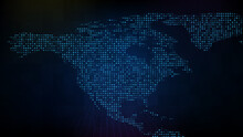 Abstract Futuristic Technology Background Of Blue Digital NA North America Map