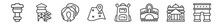 Outline Set Of Travel Line Icons. Linear Vector Icons Such As Control Tower, Waterpark, Sleeping, Unfolded Map With Location Mark, Student Backpack, France. Vector Illustration.