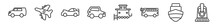 Outline Set Of Transport Aytan Line Icons. Linear Vector Icons Such As People Carrier, Army Airplane, Sports Car, Compact Car, Caboose, Train Front. Vector Illustration.