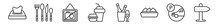 Outline Set Of Hotel Line Icons. Linear Vector Icons Such As Napkins, Eating Utensils, No Pictures, Meal, Champagne, Hotel. Vector Illustration.