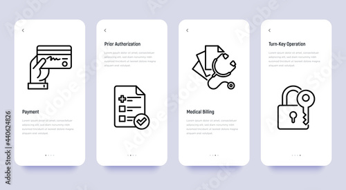 Photo Medical thin line icons set: payment, prior autorization, medical billing, turn-key operation