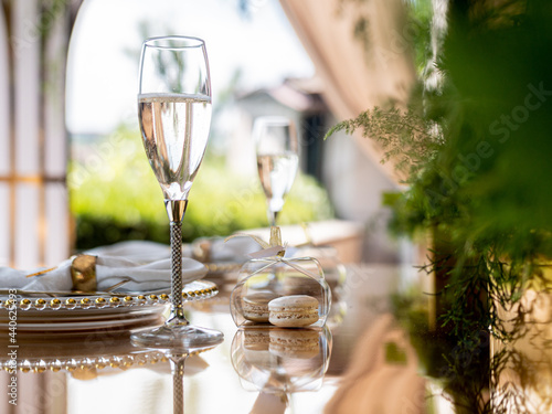 Obraz na plátně Exclusive decoration of the banquet table on the terrace in the luxury restaurant