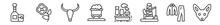 Outline Set Of Desert Line Icons. Linear Vector Icons Such As Whiskey, Poppy, Bull Skull, Mine Wagon, Industry, Fennec. Vector Illustration.