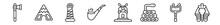 Outline Set Of Desert Line Icons. Linear Vector Icons Such As Ax, Tepee, Cowboy Tower, Tobacco, Mill, Pharaoh. Vector Illustration.