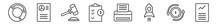 Outline Set Of Business And Finance Line Icons. Linear Vector Icons Such As Data Circular Chart, Infographics, Trial Hammer, Investigate, Printing Documents, Hash Rate. Vector Illustration.