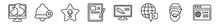 Outline Set Of Blogger And Influencer Line Icons. Linear Vector Icons Such As Fire, Notification, Fame, Blog, Sport Shoe, Web. Vector Illustration.