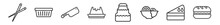 Outline Set Of Bistro And Restaurant Line Icons. Linear Vector Icons Such As Chopsticks, Food Box, Big Knife, Creme Caramel, Three Levels Cake, Long Sandwich. Vector Illustration.