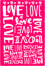 Love Lettering Poster Pattern Pink White Letters