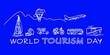 Leinwandbild Motiv World Tourism Day, 27 September. White icons on blue background. Outline style. linear travel and tourism icons. Transport for tourism and travel.