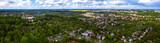 Fototapeta Miasto - Panoramiczny widok z lotu ptaka na miasto Gorzów Wielkopolski, rejon ulicy Żwirowej. W tle osiedle Piaski, ogródki działkowe nad Ruskim Stawkiem.