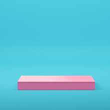 Pink Rectangle Podium For Product Display On Bright Blue Background In Pastel Colors