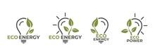 Eco Energy Logo Icon Set. Eco Friendly Technology. Sustainable And Renewable Energy Symbol. Light Bulb And Leaf