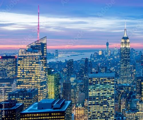 Stampa su Tela View of New York Manhattan during sunset hours