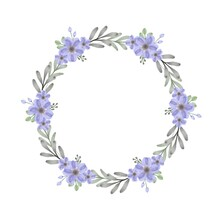 Circle Frame With Set Of Purple And Blue Floral Watercolor, Purple Wreath