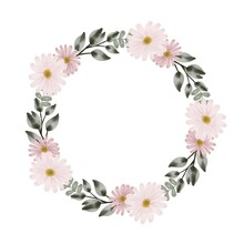 Set Pink Daisy Wreath For Greeting And Wedding Card. Vector Design