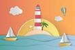 Summer sale banner in papercut style. Premium Vector