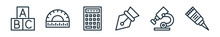 Outline Set Of School Line Icons. Linear Vector Icons Such As Cube, Protractor, Calculator, Pen, Microscope, Glue. Vector Illustration.