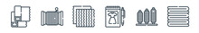 Outline Set Of Sewing Line Icons. Linear Vector Icons Such As Fabric, Thread, Fabric, Sketch, Thread, Fabric. Vector Illustration.